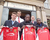 New signings Kris Nurse, Justin Rowe and Jonathan Daniels with Gary Norton and Mark Evans